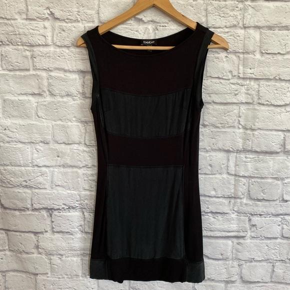 BEBE Two Tone Black Colour block Mini Dress